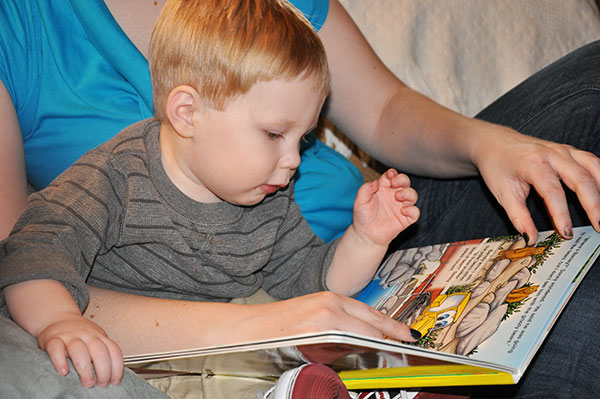 Two-year-old reading a favorite book